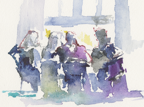 2015-04-05_sehitlik-moschee_skizze, in the women's room of the Sehitlik mosque, women are reading the Koran before prayer, sketch, water colour, image section of 24 x 32 cm (Kirsten Kötter)